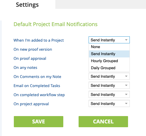 Project Email Notifications Settings